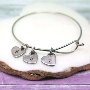 Family Bangle with Initial Heart Charms