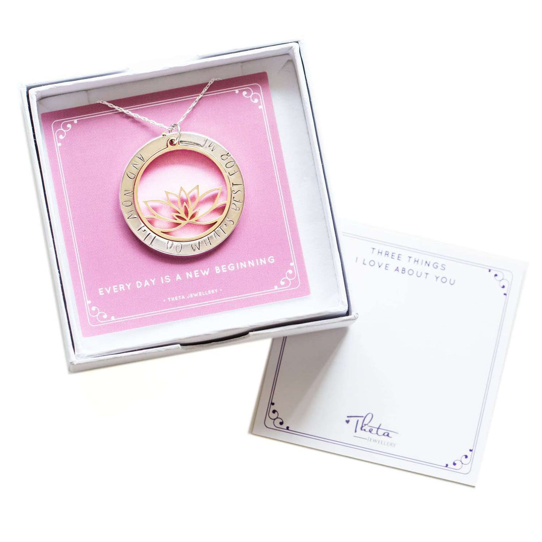 Inspirational Necklace - hand stamped Lotus pendant