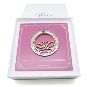 Inspirational Lotus Necklace in a gift box