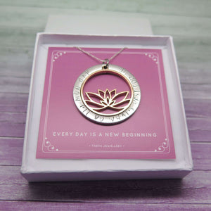 Hand Stamped Lotus Necklace in Gift Box