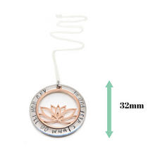 Inspirational Necklace with Lotus Charm with measurements