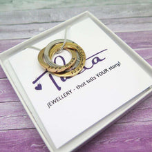 Personalised Three Ring Russian Necklace in a gift box