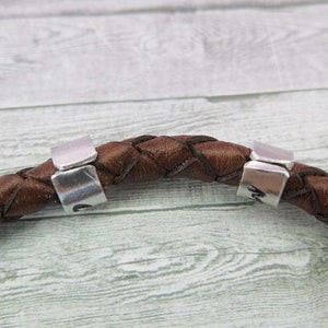 The back of the cuff beads on the personalised mens leather bracelet