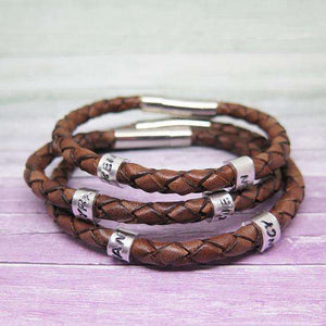 Personalised Mens Brown Leather Bracelet