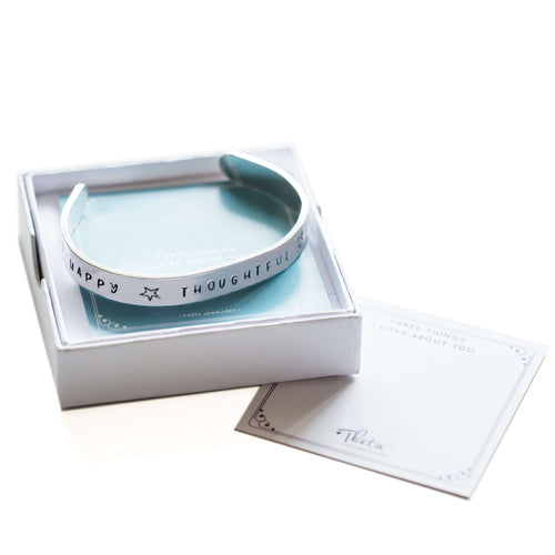 Meaningful Gift - Hand Stamped Cuff Bracelet in Gift Box with #ShareYourThree card