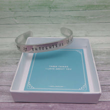 Meaningful Gift - Cuff Bracelet personalised with Three Things You Love About the Gift Recipient
