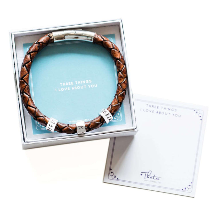 Theta Jewellery Personalised Men's Leather Bracelet