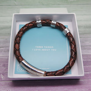 Theta Jewellery Men's Leather Bracelet personalised with Three Words