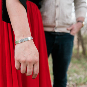Personalised Cuff Bracelet on a woman's wrist