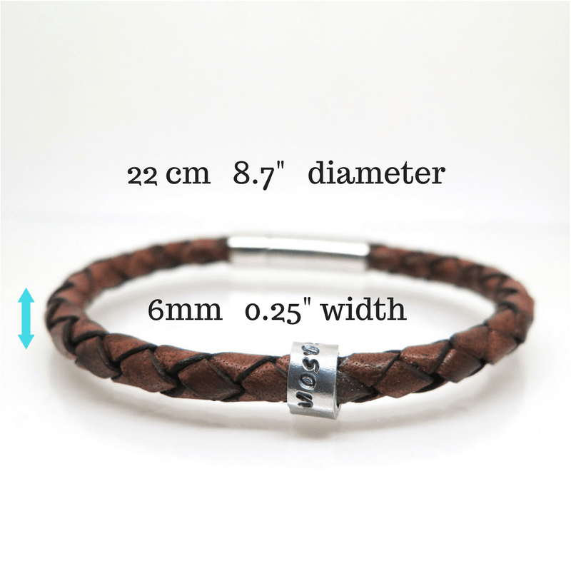 Brown Leather Bracelet with measurements
