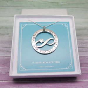 Necklace for Wife - hand stamped with 'I love our happily ever after'