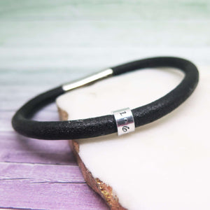 personalised black leather bracelet