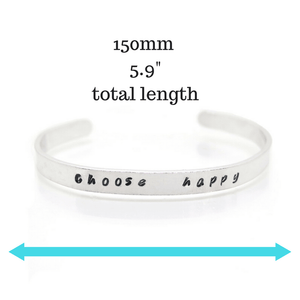 Personalised Cuff Bracelet with measurements