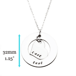 Family Necklace with dimensions