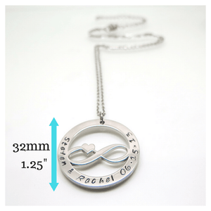 Infinity Necklace with measurements