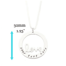Personalised Love Necklace with measurements
