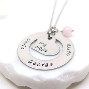 "Personalised Necklace hand stamped with ""My Boys"" and children's names"