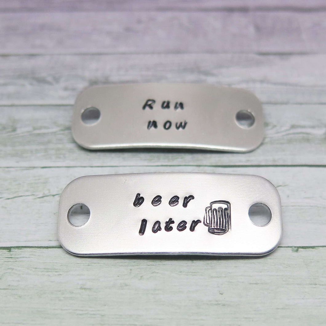 Trainer Tags personalised with Run Now - Beer later