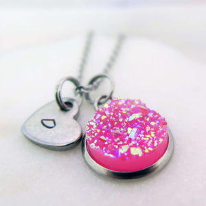 theta_jewellery_Pink Druzy Necklace