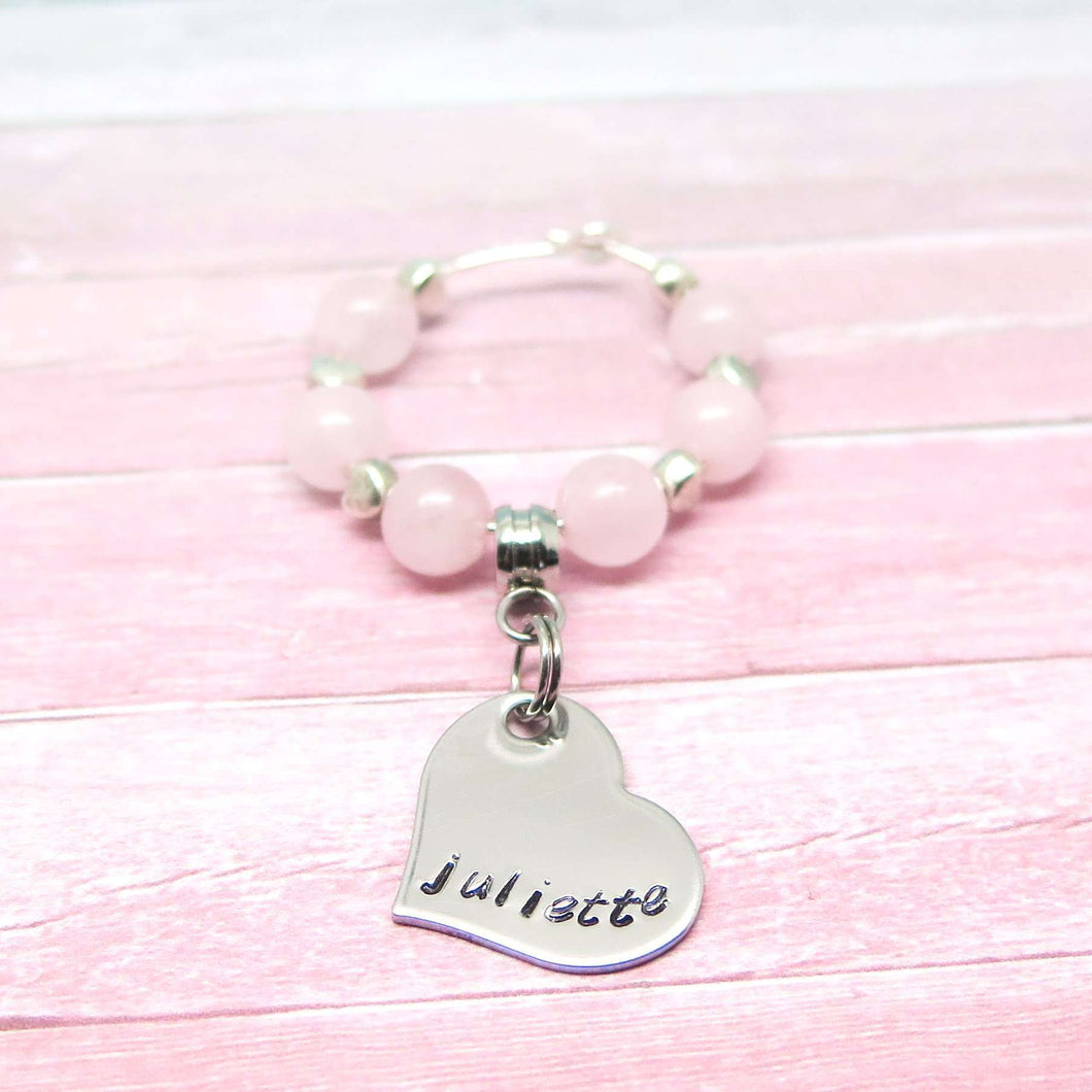 Personalised Wine Glass Charm - Pink