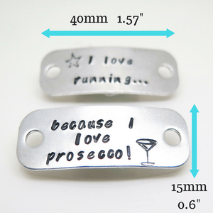 Prosecco Lovers Gift - Trainer Tags with measurements