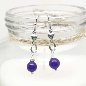Purple Amethyst Gemstone Drop Earrings