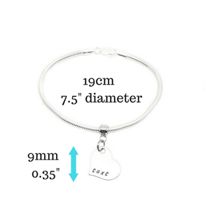Silver Heart Charm Bracelet with measurements