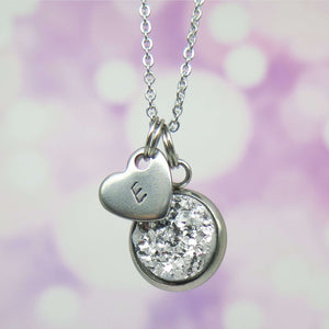 Silver Colour Druzy Necklace