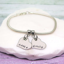 Silver Personalised Heart Charm Bracelet