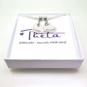 Silver Personalised Heart Charm Bracelet in gift box