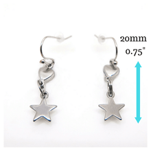 Star Drop Earrings with measurements