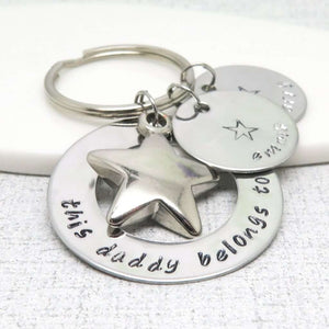 'This Daddy Belongs to' Keyring with children's names on discs