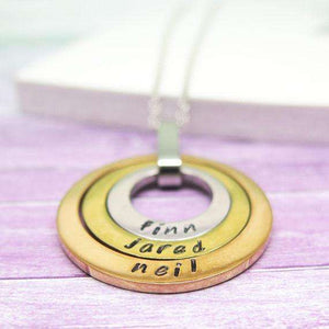 Personalised Three Ring Necklace