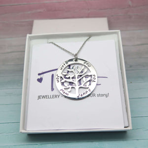 Personalised Tree of Life Necklace in a gift box