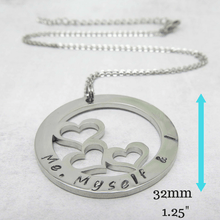 Trio Necklace - Personalised three names pendant with measurements