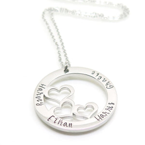 theta_jewellery_Trio Necklace - Personalised Three Heart Pendant