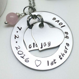 Bridal Necklace with Wedding Date stamped on the circle