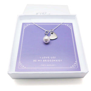 Theta Jewellery Will You Be My Bridesmaid Gift -  Pearl and Heart Necklace