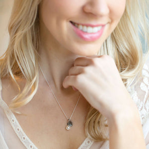 Will You Be My Bridesmaid Gift -  Pearl and Heart Necklace on model
