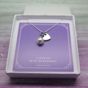 Will You Be My Bridesmaid Gift -  Pearl and Heart Necklace