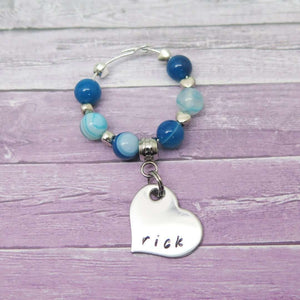Personalised Wine Glass Charm - Blue