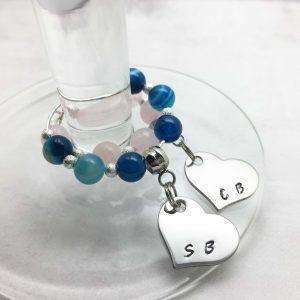 Personalised Wine Glass Charms - Blue