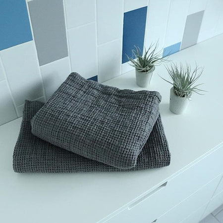 Steel Gray Washed Big Waffle Bath Towel