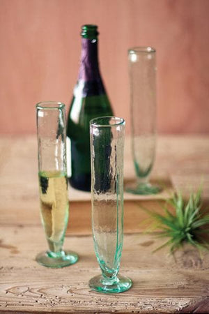Tall Recycled Champagne Flute S/6