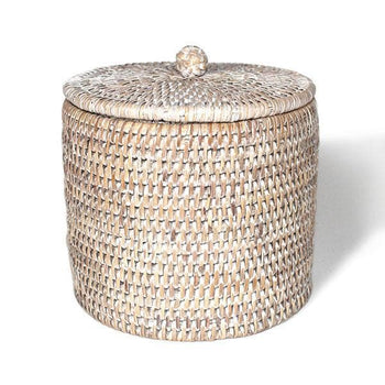 White Rattan Toilet Paper Holder Basket