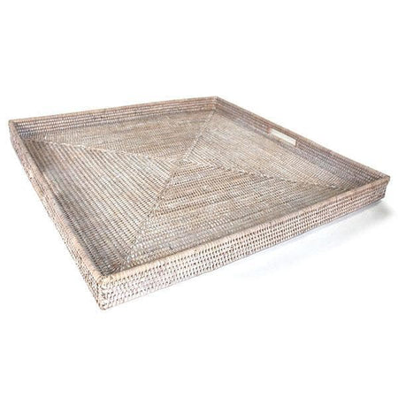 White Washed Rattan Tray w/ Handle Square 25""