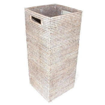 White Washed Rattan Square Umbrella Stand