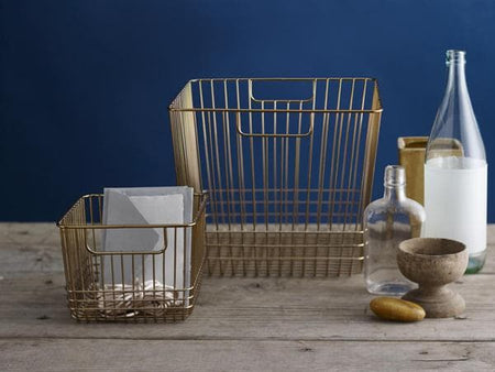Savoy Storage Brass Basket - Long