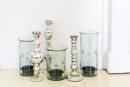 Antiqued Silver Glass Taper Candle Holders