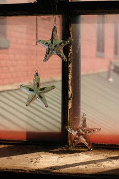 Set/4 Glass Starfish Ornaments